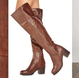 Justfab brown heeled over the knee boots